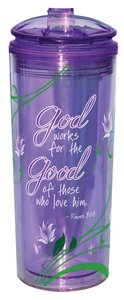 Flip Top Tumblers: God Works For the Good.... Purple (Romans 8:28)