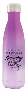 Water Bottle 590ml Stainless Steel Vacuum Sealed: Violet, God Created You, Eph 2:10