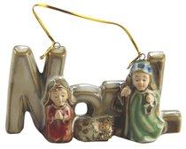 Porcelain Holy Family Tree Ornament Colour Glazed: Noel