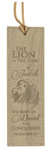 Leather Lux Bookmark: Lion the Tribe of Judah, Light Brown