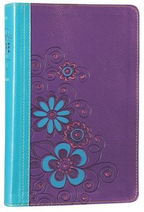 NLT Girls Life Application Study Bible Blue/Purple Flower Leatherlike (Black Letter Edition)
