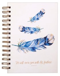 Wirebound Journal: He Will Cover You With His Feathers, Blue Feathers