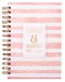 Wirebound Journal: Fearfully & Wonderfully Made Pink & White Stripes