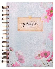 Wirebound Journal: Amazing Grace, Blue/With Flowers