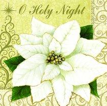 Christmas Napkins: O Holy Night, White Poinsettia