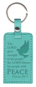Leather Lux Keyring: Peace, Psalm 29:11, Aqua