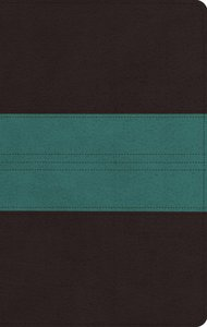 ESV Large Print Personal Size Bible Dark Brown/Teal Trail Design Red Letter Edition