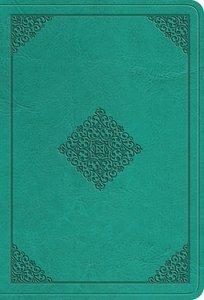 ESV Value Large Print Compact Bible Teal Ornament Design