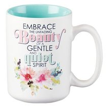 Ceramic Mug: Embrace the Unfading Beauty.... (Light Blue/white)