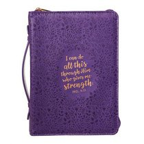 Bible Cover Medium: I Can Do All This Phil 4:13 Purple Floral