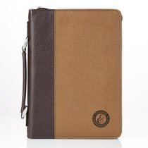 Bible Cover Medium: Strong & Courageous Brown/Dark Brown