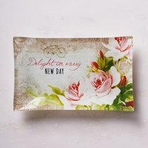 Small Glass Trinket Tray: Delight in Every New Day, Floral