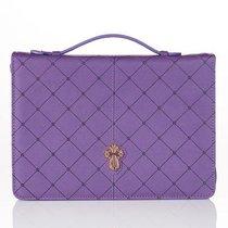 Bible Cover Medium Cross Badge Grace Zipper Purple Luxleather