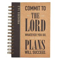 Spiral Journal: Graduation, Commit to the Lord... Black/Brown (Prov 16:3)