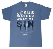 Mens T-Shirt: Jesus Washed Small Blue/White (Psalm 51:2)