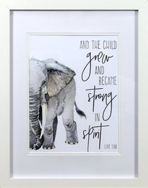 Framed Childrens Print Watercolour Elephant and the Child Grew (Luke 1:80)