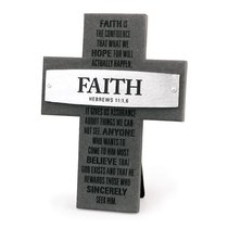 Cross Cast Stone: Faith: Badge of Faith