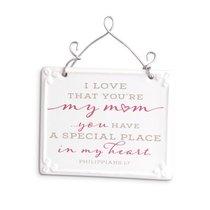 Plaque Ceramic/Wire: Mum, Pink/White Scripture Blessings (Phil 1:7)