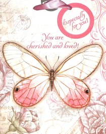 Gift Bag Medium: You Are Cherished and Loved Pink Butterfly
