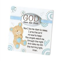 Resin Tabletop Plaque: God Bless This Child - Boy (Blue/white)