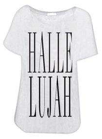 T-Shirt: Hallelujah Extra Small White/Black Writing