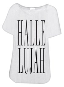 T-Shirt: Hallelujah Medium White/Black Writing