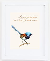 Medium Framed Print: Watercolour Bird - His Eye is on the Sparrow
