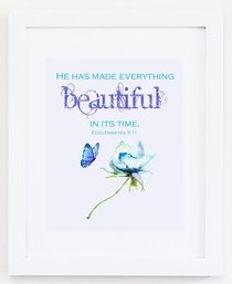 Medium Framed Print: Watercolour Flower With Butterfly - He Has Made Everything Beautiful Ecclesiastes 3:11