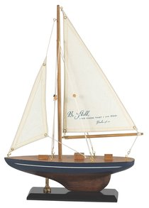 Sailboat Wood Fabric: Be Still and Know Psalm 46:10 (Navy & White Stripe)