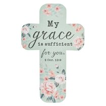 Bookmark Cross-Shaped: My Grace is Sufficient For You.. 2 Cor 12:9, Green/Pale Pink Roses