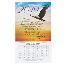 2019 Mini Magnetic Calendar: Those Who Hope in the Lord....Flying Eagle