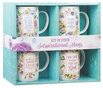 Ceramic Mug: Inspirational Mugs, Floral (Various Scripture Verses) (Set Of 4)