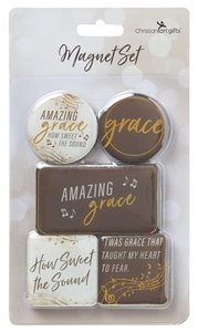 Magnetic Set of 5 Magnets: Amazing Grace, Brown/Cream