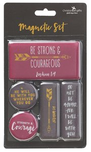 Magnetic Set of 5 Magnets: Be Strong & Courageous, Burgundy/Black/Gold