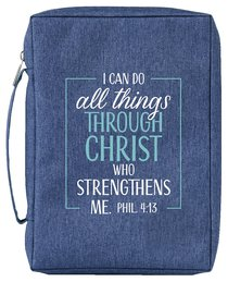 Bible Cover Poly Canvas Large: All Things Through Christ, Denim, Carry Handle