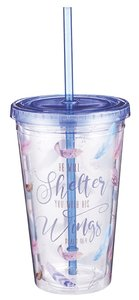 Plastic 480ml Tumbler With Lid: He Will Shelter You...Blue Lid