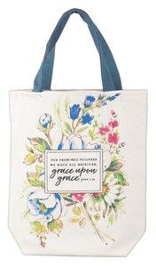 Canvas Floral Tote Bag: Grace Upon Grace, Brown Handles