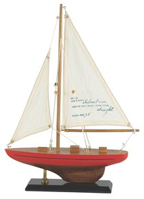 Sailboat Wood/Fabric: In All Your Ways Proverbs 3:6 (Red & Blue Stripe)