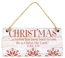 Christmas Rustic Country Ornament: Christmas Red and White (Luke 2:11)