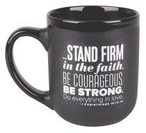 Ceramic Mug: Stand Firm, Encourage Men Black/White (1 Cor 16:13-14)