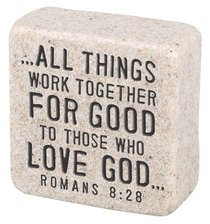 Cast Stone Plaque: Believe Scripture Stone, Cream (Romans 8:28)