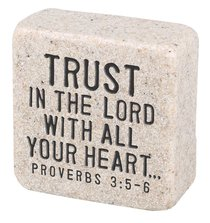 Cast Stone Plaque: Trust Scripture Stone, Cream (Proverbs 3:5-6)
