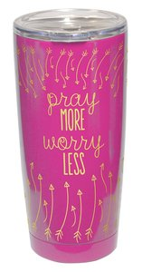 Gold Accent Steel Tumbler: Pray More, Worry Less, Pink/Gold