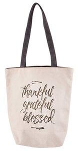 Canvas Tote Bag: Thankful, Grateful, Blessed, Cream/Black Handles