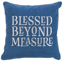 Square Pillow: Blessed Beyond Measure, Blue/White