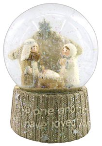 Knitted Nativity Waterglobe White/Beige