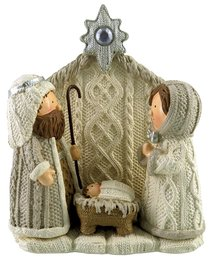 Resin Knitted Finish White/Beige Holy Family: Joseph, Mary & Baby Jesus