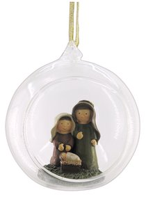 Glass Ball With Holy Family Ornament