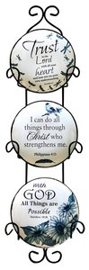 Ceramic Plate Set of 3 Incl. Plastic Rack: Trust in the Lord; With God All Things Are Possible; I Can Do All Things, Blue/White Nature Theme
