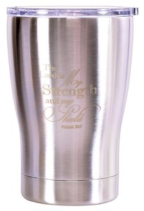 Tumbler Mug Stainless Steel: The Lord is My Strength, Metallic Silver